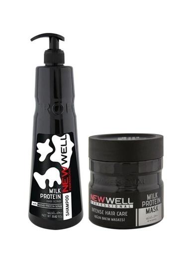 New Well Newwell Milk Protein Şampuan 1000 Ml+Newwell Milk Protein Yoğun Saç Bakım Maskesi 500 Ml Renksiz